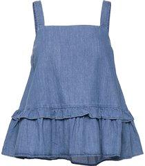 soft indigo bista blouse mouwloos blauw mads nørgaard