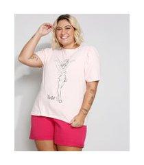 camiseta feminina plus size sininho manga curta bufante decote redondo rosa claro