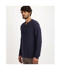 camiseta masculina básica gola portuguesa manga longa azul marinho