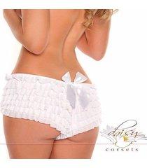 new white  daisy corset ruffle panty boyshort with bow - plus size available