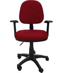 silla oficina lizza media rojo tomate con brazos  ref: 2005