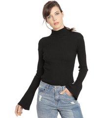 sweater io liso negro - calce ajustado