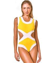 body sporty amarelo retro multicolorido