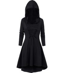 hooded lace-up heathered high low gothic dress