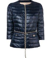 herno crop sleeve puffer jacket - blue