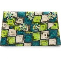 natori woven square print clutch, women's natori