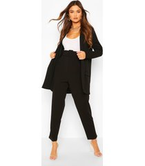 tailored blazer & self fabric belt trouser suit set, black