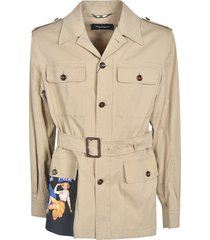 dolce & gabbana belted buttoned jacket