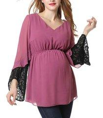 kimi + kai nisa maternity chiffon and lace blouse