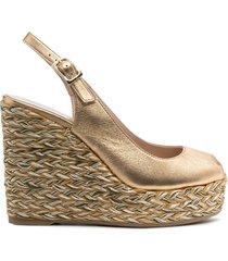 paul warmer braided wedge slingback strap - gold