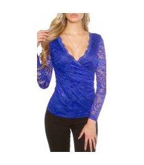 sexy kanten lange mouw shirt wikkel optiek koningsblauw