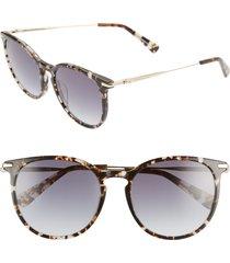 women's longchamp roseau 54mm round sunglasses - havana aqua/ blue