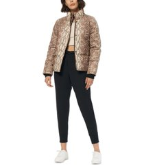 marc new york snakeskin print faux-leather puffer coat