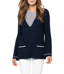 women's nic+zoe v-neck sweater, size x-small - blue