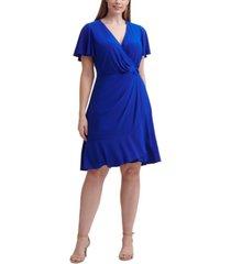 jessica howard plus size faux-wrap a-line dress