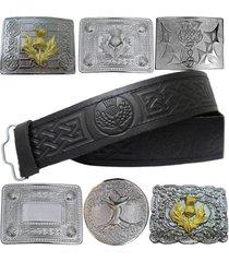 scottish kilt leather belt buckle thistle embossed celtic design various buckles
