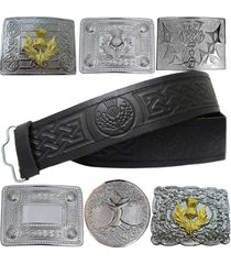 scottish kilt leather belt buckle thistle embossed celtic design various buckles