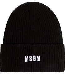 msgm black chunky knit hat with logo