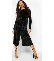 velvet knot front cullotte jumpsuit, black
