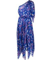 isabel marant royal blue silk-blend nolizou dress