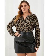 blusa de manga larga con cremallera de leopardo y cuello en v de talla grande