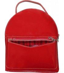 mochila cuero natacha rojo mouton
