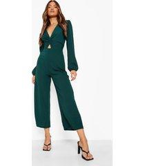 gerdraaaide culotte jumpsuit met pofmouwen, green