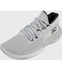 tenis basketball gris-negro-blanco under armour sc 3zer0 iii