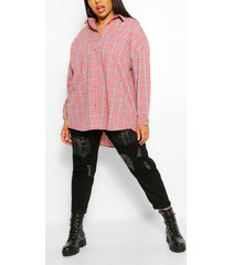 plus geborstelde geruite oversized boyfriend blouse, rose
