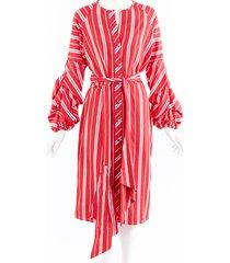johanna ortiz santa fe striped linen belted midi dress red/white sz: m