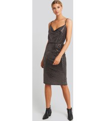 trendyol bronze thin strap midi dress - black,copper