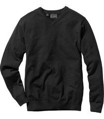 pullover in maglia fine con scollo a v regular fit (nero) - bpc selection
