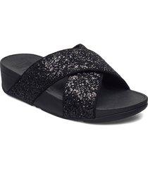 lulu glitter slides shoes summer shoes flat sandals svart fitflop