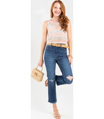 women's harper heritage frayed distressed ankle jeans in denim by francesca's - size: 9