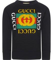 gucci black sweatshirt with vintage logo