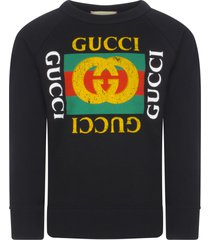 gucci black sweatshirt with vintage logo
