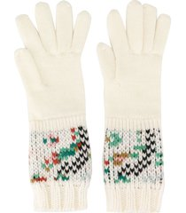 missoni pattern knit gloves - white