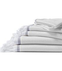 coyuchi mediterranean bath organic cotton guest towel in alpine white w/slate at nordstrom