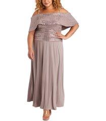 r & m richards plus size embellished gold-shoulder gown