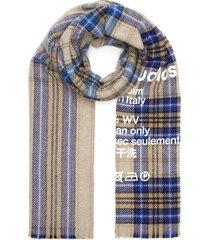 logo check wool scarf