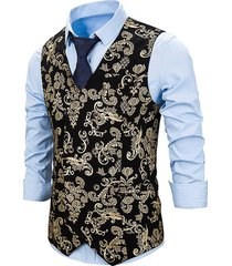 gilding flower pattern double breasted business vest