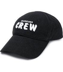 balenciaga crew embroidered logo cap - black