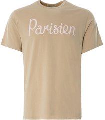 maison kitsune parisien classic t-shirt   beige   111kj001-bei