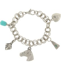 2028 silver-tone turquoise color accents and multi-charm bracelet