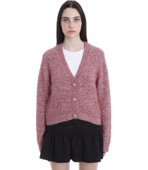 ganni cardigan in rose-pink synthetic fibers