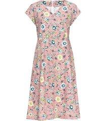 uitlopende jurk van bio-katoen met v-hals, mauve-motief 40