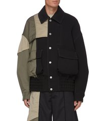 deconstructed contrast panel cargo pocket jacket