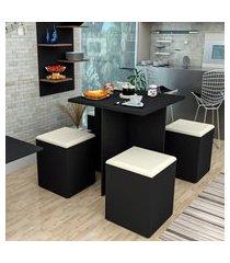 conjunto de mesa de jantar quadrada nanda com 4 bancos | banquetas estofados corino preto e bege