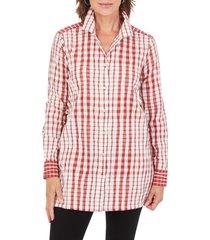 women's foxcroft santino crinkle plaid tunic, size 2 - pink