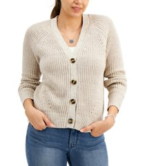 style & co marled cotton boyfriend cardigan, created for macy's